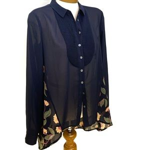 Anthropologie MAEVE Navy Button Down Blouse Size 2